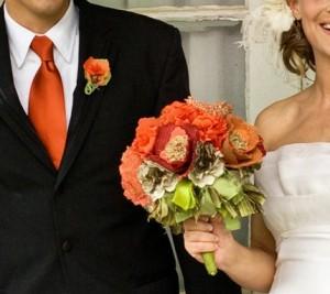 Сватбен букет панделки и дантели